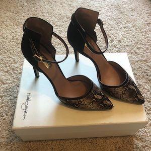 Halogen snake print/brown suede heels! 👠